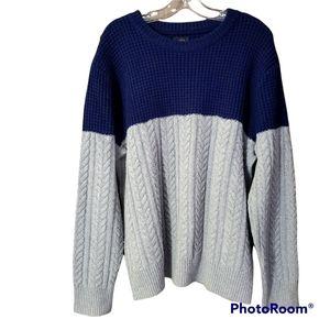 J. Crew navy grey mixed knit crewneck heavy sweater size large